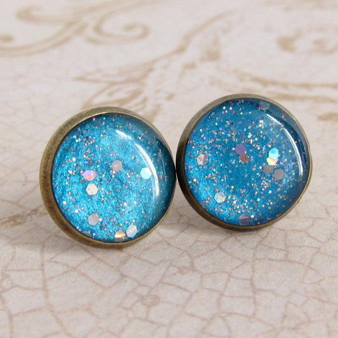 sky blue earrings post earrings stud earrings resin