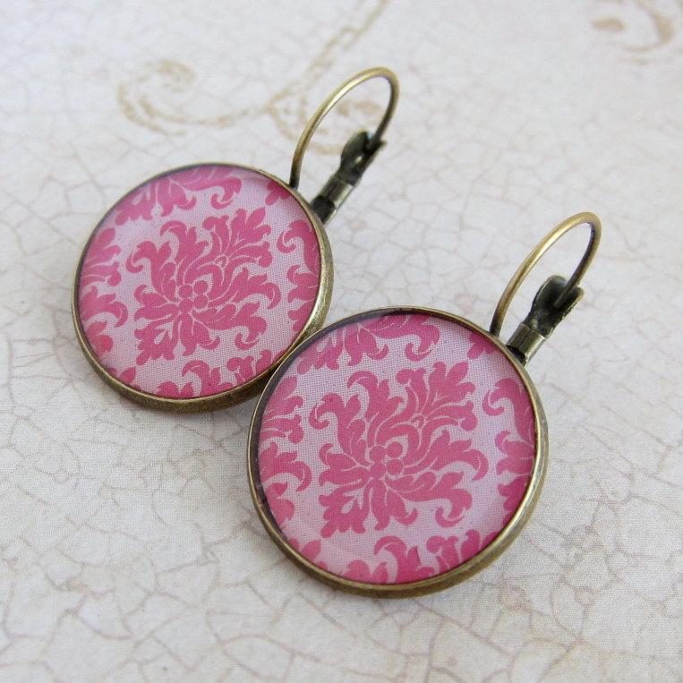 Pink Earrings, Pink Jewelry, Resin Earrings, Resin Jewelry, Baroque Style, Leverback Earrings