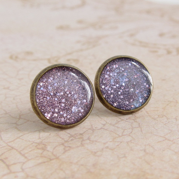purple earrings post earrings stud earrings resin